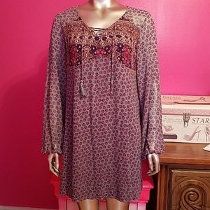 Xhilaration XL bohemian boho blue pink dress